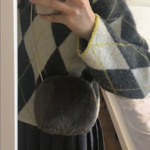 Gray Furry Tommy Hilfiger Crossbody Bag
